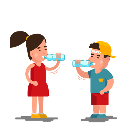 Little boy and girl drinks water vector illustration. Kids drinking clean water isolated on white background. Children drink clean water from plastic bottle