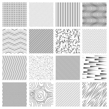Dunne lijn patroon ingesteld. Crossing en schuine, golvende en gestreepte lijnpatronen. Illustratie van geometrische mozaïek naadloze vector als achtergrond Vector Illustratie