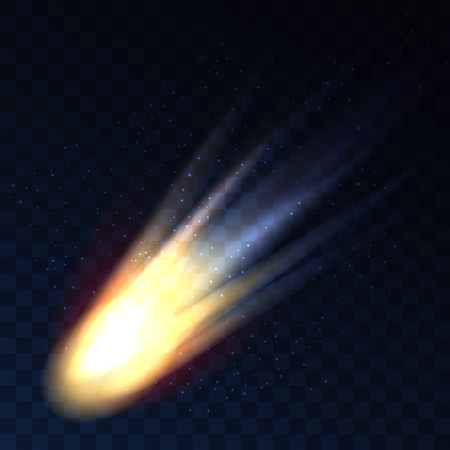 shooting: Star fall on transparent background. Vector comet, meteor or asteroid shooting isolated on checkered background. Quickly falling meteorite is space illustration Illustration