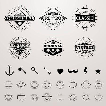 sunburst: Vintage lines insignia set with star burst. Vector hipster printing bursting retro Illustration