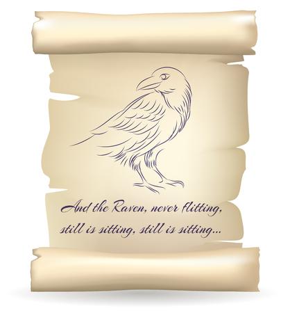 oiseau dessin: Raven croquis sur papier parchemin inspiré par Edgar Allan Poe vecteur de poésie illustration. Parchmentold avec corbeau antique cru