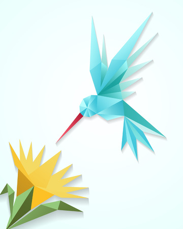 humming: Origami hummingbird with flower. Paper 3D humming bird vector illustration. Decoration floral and fly bird