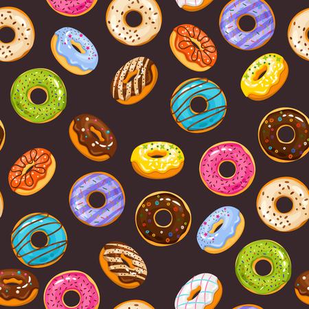 Vector nahtloses Muster mit bunter Glasur und besprüht Schaumgummiringe und Schokoladendonut. Frische und leckere Donutsillustration des Hintergrundes