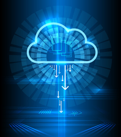 Cloud technology modern blue vector background. Clouds computing communication graphics concept. Connection digital networking illustration Çizim