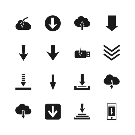 icon buttons: Download file icons. Vector down digital arrow buttons. Downloading icon of set illustration Illustration