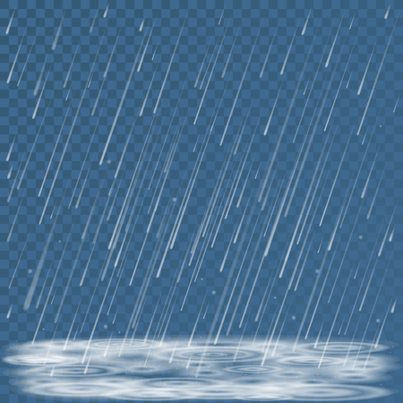 rain weather: Autumn nature cold storm weather abstract background. Falling rain shower, splashes and puddles vector illustration. Cold falling rainy weather backdrop Illustration