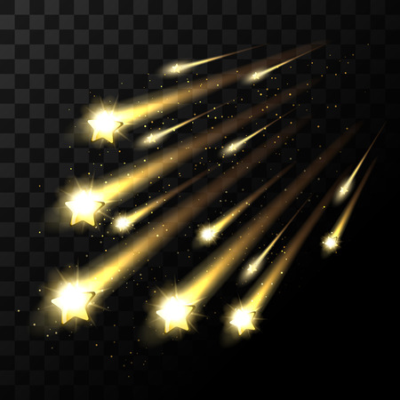twinkle: Vector falling stars on transparent background. Space star light shooting in dark. Twinkle star in universe illustration