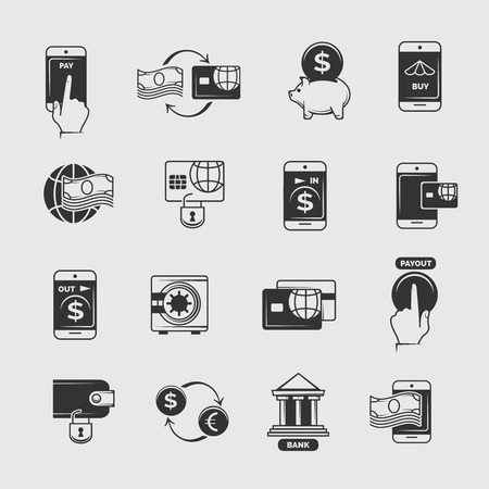internet phone: Phone payment, mobile internet banking, electronic money transfer vector icons. Transaction and commerce with telephone illustration