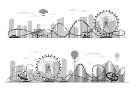 luna: Fun fair amusement park landscape silhouette with ferris wheel, carousels and roller coaster. Festival outdoor with recreational luna park in town illustration Illustration