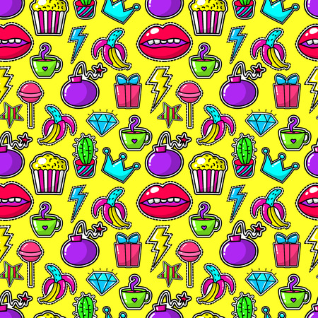girl mouth: Handwritten stickers or fashion 80s girl badges with bomb and crystal, lightning and banana on yellow background. Popcorn and lips, mouth and bomb cartoon vintage crown. Vector illustration