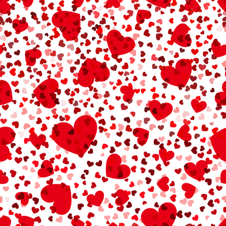 repeat texture: Red hearts seamless pattern. Vector love repeat texture. Background silhouette heart illustration Illustration