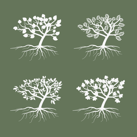 tree symbol: Simple vector trees. Environmental symbol tree illustration icon set. Collection of artistic outline tree with foliage