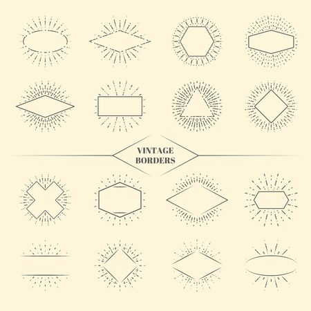 rectangle: Vintage beauty sun rays borders or retro circles star exploding frames vector illustration. Triangle square and oval form radiant sunburst Illustration