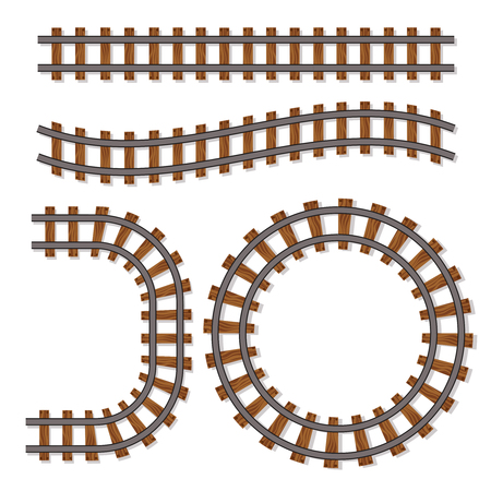 Passenger train vector rail tracks brush, railway line or railroad elements isolated on white background. Design of rail way for transportation illustration Illustration