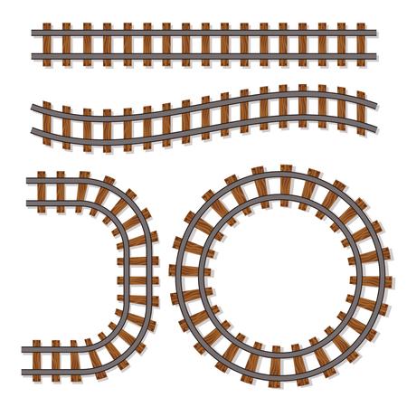 Trains de train de voyageurs ferroviaire pistes de piste, ligne de chemin de fer ou éléments de chemin de fer isolés sur fond blanc. Conception de voie ferroviaire pour l'illustration du transport