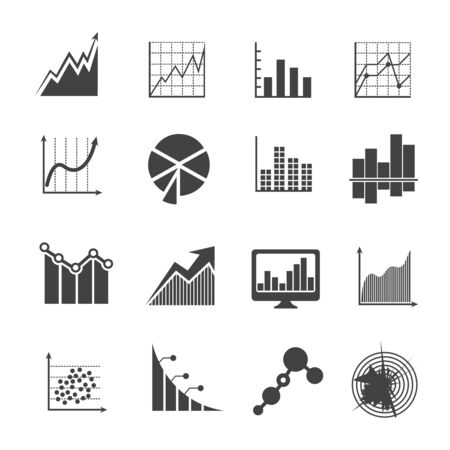 economy: Business data analytics icons. Measurements and financial diagrams vector signs. Statistic market economy, diagram and financial report illustration