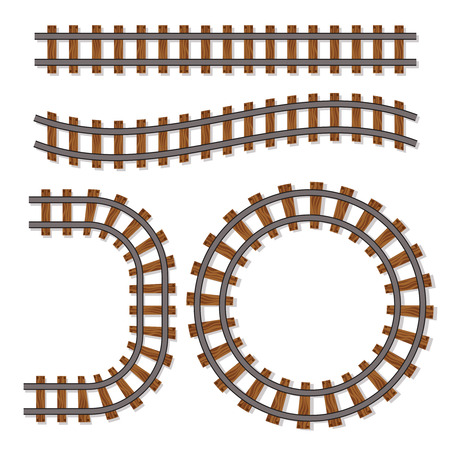 railway transportation: Passenger train vector rail tracks brush, railway line or railroad elements isolated on white background. Design of rail way for transportation illustration Stock Photo