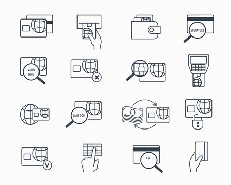 pay money: Debit and credit card payment icons. Safe electronic banking outline vector icon set. Electronic pay and money on credit card illustration