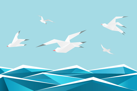 Paper sea with birds. Vector origami gulls above waves vector background. Origami seagull paper freedom illustration Illustration