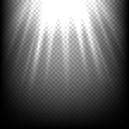 vibrant background: Light rays on black. Vector sunbeam scene on transparent background. Bright shiny sunlight vibrant effect illustration