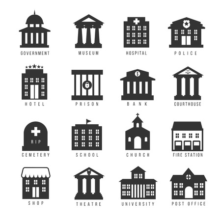 Government building icon set. Vector buildings like university, police office and city hall, hospital and museum. Urban, buildin, prison and hotel, cemetery and bank illustration  イラスト・ベクター素材