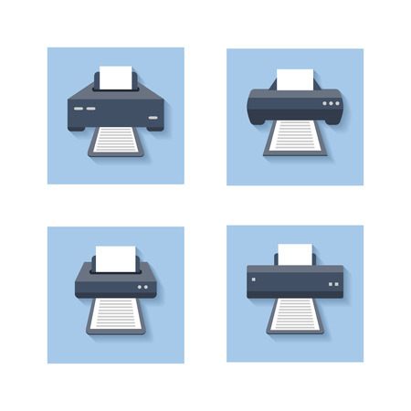 fotocopiadora: Print flat icons. Office paper printer, scanner and photocopier colored signs. Set of icons printer machine device. Vector illustration