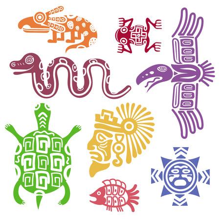 cultura maya: ilustración vectorial símbolos del México antiguo. cultura maya símbolos indios con los patrones de tótem. tortuga animal y la serpiente, pescado y colorido tótem Vectores