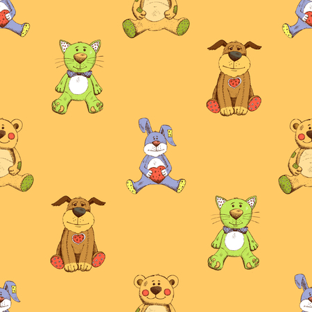 puppy and kitten: Cat, dog and rabbit background pattern. Puppy, kitten and bunny. Vector illustration
