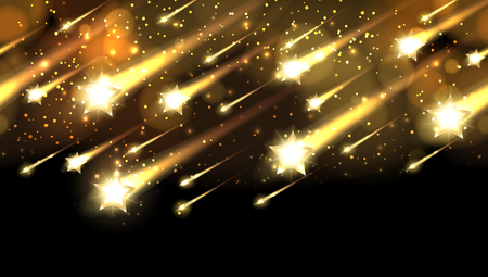 Gold star fall pattern. Holiday awards night vector background with stars rain or awarding shower. Bright comet meteorite in space illustration Vettoriali