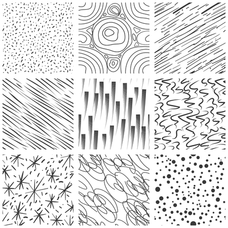 paint drop: Abstract seamless texture patterns. Simple lined and splatter paint splashes black drop vector pattern set. Seamless background with stroke marker illustration