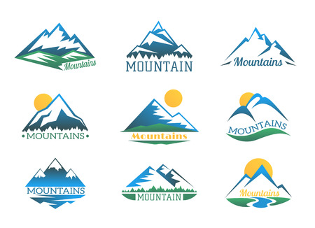 alpine: Mountains o set. Mountain peak landscape with snow cover emblems vector illustration.  extreme club collection