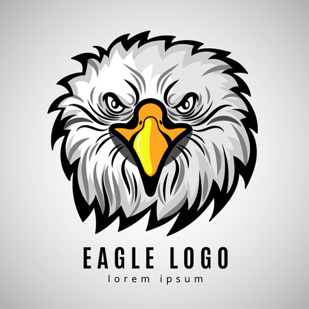 American eagle head,   bald eagles vector label. Hawk badge emblem illustration