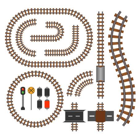 벡터 철도 및 철도 건설 요소를 추적합니다. 교통 열차 그림에 대 한 물결 모양의 추적 구조 일러스트