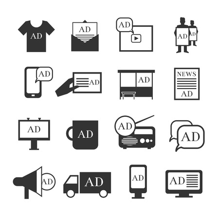 advertisment: Advertisment media icons. Advertising ribbon and print product, banner and billboard vector icons. Plfce for promotion content illustration