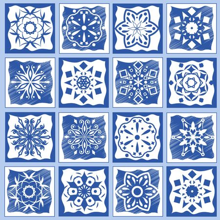tiles texture: Vintage ceramic tiles vector illustration. Geometric floor tiles design texture set. Ceramic mosaic traditional tiled Illustration
