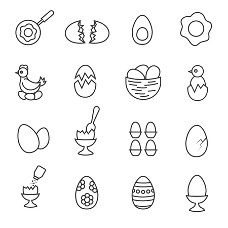 raw egg: Vector line egg icon set. Chicken and eating eggs linear icons. Eggs for breakfast illustration Illustration