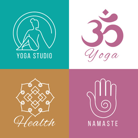harmony nature: Yoga logo set. Floral and nature harmony, zen and health vector symbols. Balance and meditation signs illustration Illustration