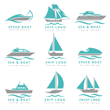 speedboats: Boat logo and yacht label set. Fast motor yacht, speedboats and waves signs vector illustration. Marine transportation logo collection
