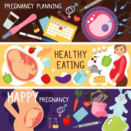 pregnancy woman: Happy pregnancy banners. Pregnant woman lifestyle, planning of child conception, gestation baby healthy diet vector. Motherhood and parenthood cocncept illustration Illustration