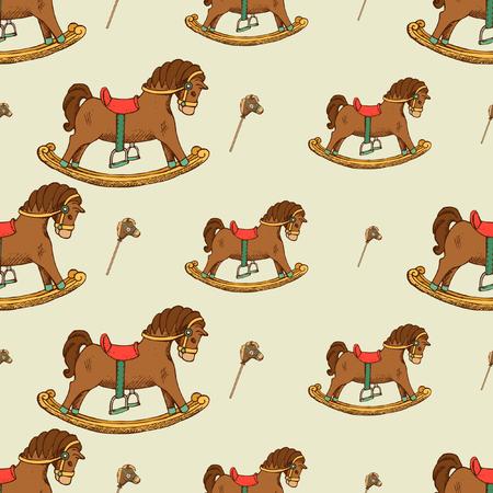 Rocking horse seamless pattern. Childhood background graphic, vector illustration flat