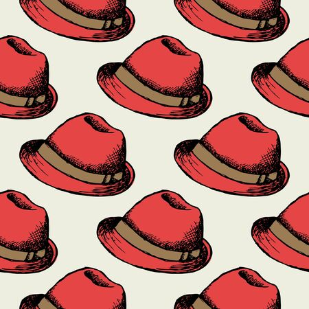 hat cap: Red hat retro seamless background. Wallpaper decoration hipster cap. Vector illustration Stock Photo