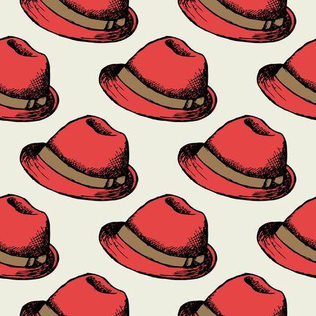 animal print: sombrero rojo retro de fondo sin fisuras. casquillo inconformista decoración de fondo de pantalla. ilustración vectorial