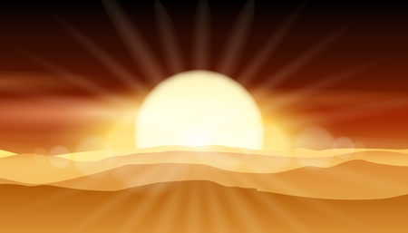 Sunset desert background or sunrise over sandy landscape vector illustration. Outdoor sand and sun, nature summer