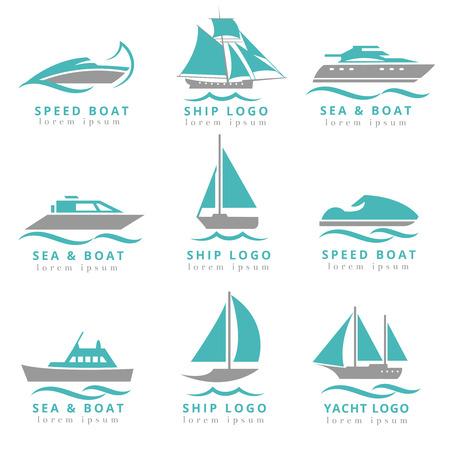 Boat logo and yacht label set. Fast motor, speedboats waves signs vector illustration
