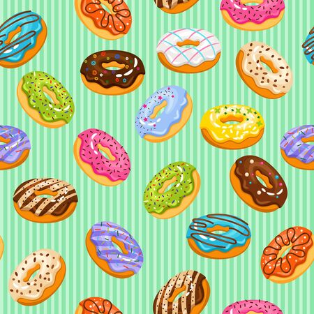 sweet heart: Sweet heart donuts texture. Vector striped background with donut cakes for birthday Stock Photo