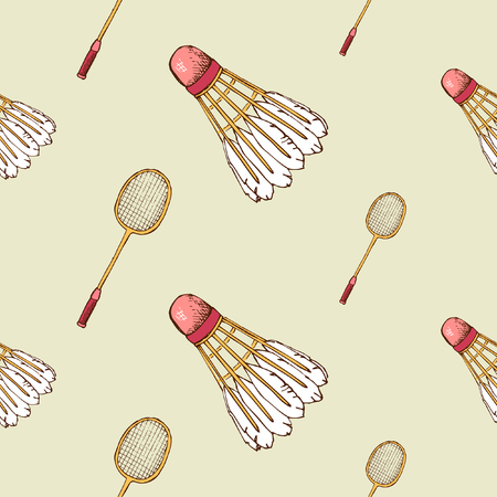 Seamless pattern background with shuttlecock and badminton racket. Vector illustration