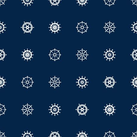 yacht: Ship helm seamless pattern. Vector yacht boat navigation blue texture