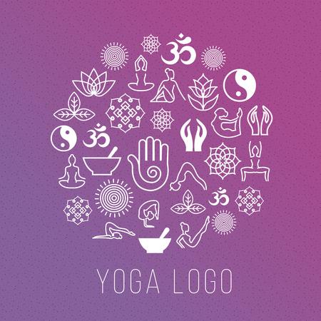 forme et sante: symboles de yoga dans la forme de l'étiquette ronde. Vector méditation et spirituelle, le concept de la santé de l'harmonie