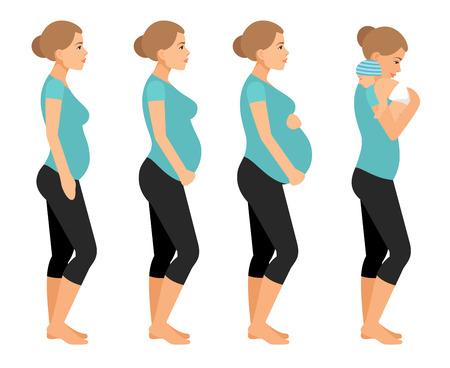 Femme enceinte et bébé nouveau-né illustration vectorielle plate. Grossesse, beau, corps, isolé, blanc, fond