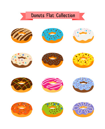 Sweets donuts flat icons. Pastry sugar glazed doughnut set with holes vector illustration